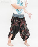 samurai hakama pants wrap around fold over indigo waist active flexible burning man tribal dance ninja warrior cropped trousers unique parkour flow pants black red bamboo right