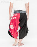 samurai hakama pants wrap around fold over indigo waist active flexible burning man tribal dance ninja warrior cropped trousers unique parkour flow pants black red japanese banner back