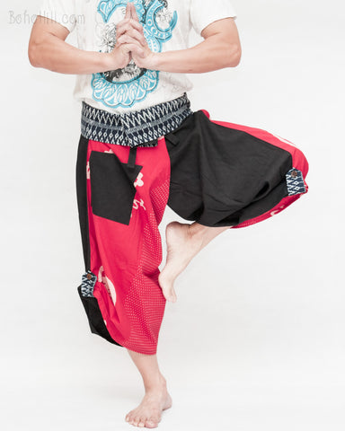 samurai hakama pants wrap around fold over indigo waist active flexible burning man tribal dance ninja warrior cropped trousers unique parkour flow pants black red japanese banner dance
