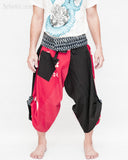 samurai hakama pants wrap around fold over indigo waist active flexible burning man tribal dance ninja warrior cropped trousers unique parkour flow pants black red japanese banner front