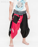 samurai hakama pants wrap around fold over indigo waist active flexible burning man tribal dance ninja warrior cropped trousers unique parkour flow pants black red japanese banner side