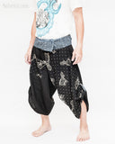 samurai hakama pants wrap around fold over indigo waist active flexible burning man tribal dance ninja warrior cropped trousers unique parkour flow pants black starry owl side