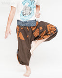 samurai hakama pants wrap around fold over indigo waist active flexible burning man tribal dance ninja warrior cropped trousers unique parkour flow pants brown square dance