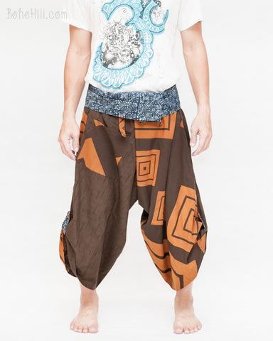 samurai hakama pants wrap around fold over indigo waist active flexible burning man tribal dance ninja warrior cropped trousers unique parkour flow pants brown square front