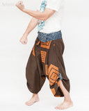 samurai hakama pants wrap around fold over indigo waist active flexible burning man tribal dance ninja warrior cropped trousers unique parkour flow pants brown square karate