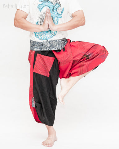 samurai hakama pants wrap around fold over indigo waist active flexible performing art tribal dance ninja warrior cropped trousers unique parkour flow pants red brush dance