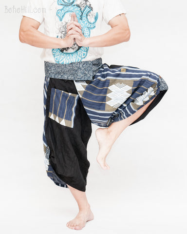 samurai hakama pants wrap around fold over waist active flexible performing art tribal dance trousers unique parkour flow pants blue haka islander warrior weave dance