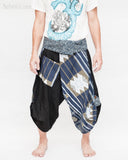 samurai hakama pants wrap around fold over waist active flexible performing art tribal dance trousers unique parkour flow pants blue haka islander warrior weave front