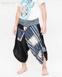 samurai hakama pants wrap around fold over waist active flexible performing art tribal dance trousers unique parkour flow pants blue haka islander warrior weave side