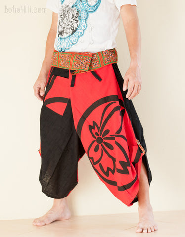 Samurai Pants - Size L/XL Unique Wrap Around Samurai Harem Pants (Red Sakura Seal)