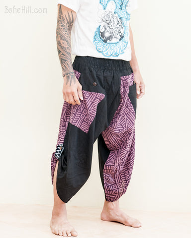 samurai warrior capri ninja pants urban active parkour airy flow cropped harem trousers shirred elastic waist two tone purple tribal broken rock side