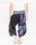samurai warrior harem pants unique wrap around aizome indigo dye waist sayagata blue japanese waves koi fish sakura size m back