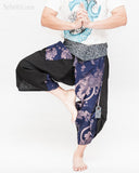 samurai warrior harem pants unique wrap around aizome indigo dye waist sayagata blue japanese waves koi fish sakura size m dance