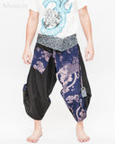 samurai warrior harem pants unique wrap around aizome indigo dye waist sayagata blue japanese waves koi fish sakura size m front