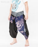 samurai warrior harem pants unique wrap around aizome indigo dye waist sayagata blue japanese waves koi fish sakura size m side