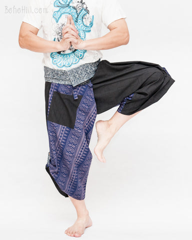 samurai warrior pants wrap around fold over waist cropped length flexible active parkour trousers aizome indigo sayagata design blue diamond dance