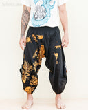 samurai warrior tribal ninja harem pants low crotch urban active martial art performer pull on black capris Japanese gold koi fish front