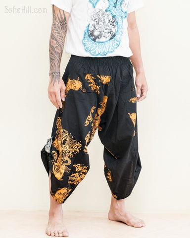 samurai warrior tribal ninja harem pants low crotch urban active martial art performer pull on black capris Japanese gold koi fish side