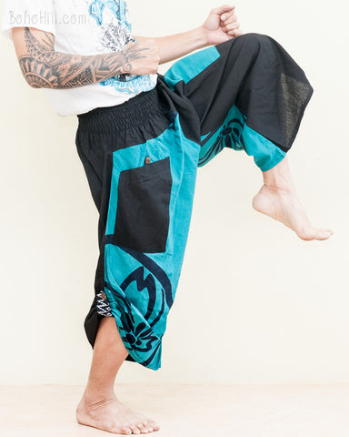 samurai warrior tribal ninja harem pants low crotch urban active performer capris two tone black turquoise big japanese sakura castle seal kick