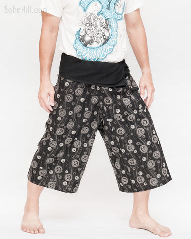 shin length thai fisherman shorts wrap around fold over waist capri cropped pants relax loose fit yoga flexible low crotch tribal flower spirit glowing river black side