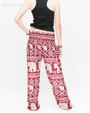 soft rayon elephant yoga pants colorful hippie gypsy bohemian loose fit bloomers trousers chain vine deep burgundy back