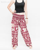 soft rayon elephant yoga pants colorful hippie gypsy bohemian loose fit bloomers trousers chain vine deep burgundy front
