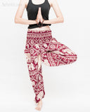 soft rayon elephant yoga pants colorful hippie gypsy bohemian loose fit bloomers trousers chain vine deep burgundy namaste
