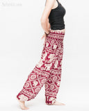 soft rayon elephant yoga pants colorful hippie gypsy bohemian loose fit bloomers trousers chain vine deep burgundy side