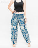 soft rayon elephant yoga pants colorful hippie gypsy bohemian loose fit bloomers trousers chain vine teal blue front