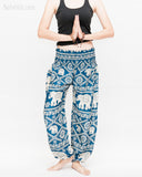 soft rayon elephant yoga pants colorful hippie gypsy bohemian loose fit bloomers trousers chain vine teal blue namaste
