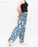 soft rayon elephant yoga pants colorful hippie gypsy bohemian loose fit bloomers trousers chain vine teal blue side