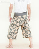 summer capri fisherman pants cropped length fold over waist wrap yoga trousers lotus mushroom spore gray back