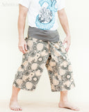 summer capri fisherman pants cropped length fold over waist wrap yoga trousers lotus mushroom spore gray side