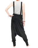 suspenders harem pants stretch jersey cotton creative unisex baggy pants elastic cuff leg funky two tone design burgundy back