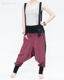suspenders harem pants stretch jersey cotton creative unisex baggy pants elastic cuff leg funky two tone design burgundy front