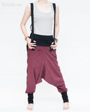 suspenders harem pants stretch jersey cotton creative unisex baggy pants elastic cuff leg funky two tone design burgundy hang