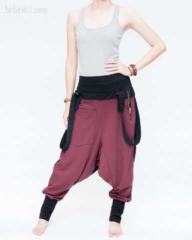suspenders harem pants stretch jersey cotton creative unisex baggy pants elastic cuff leg funky two tone design burgundy left