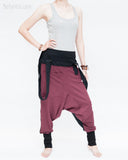 suspenders harem pants stretch jersey cotton creative unisex baggy pants elastic cuff leg funky two tone design burgundy right