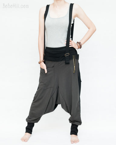 suspenders harem pants stretch jersey cotton creative unisex baggy pants elastic cuff leg funky two tone design charcoal front