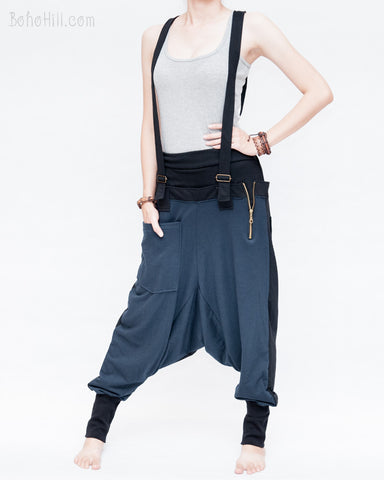 suspenders harem pants stretch jersey cotton creative unisex baggy pants elastic cuff leg funky two tone design navy blue front
