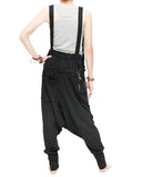 suspenders harem pants stretch jersey cotton creative unisex baggy pants elastic cuff leg funky two tone design olive green back