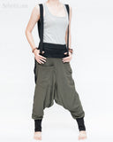 suspenders harem pants stretch jersey cotton creative unisex baggy pants elastic cuff leg funky two tone design olive military green cool