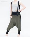 suspenders harem pants stretch jersey cotton creative unisex baggy pants elastic cuff leg funky two tone design olive military green front