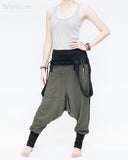 suspenders harem pants stretch jersey cotton creative unisex baggy pants elastic cuff leg funky two tone design olive military green left