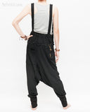 suspenders harem pants with side zippers heavy stretch jersey cotton blend hipster unisex low crotch trousers black back