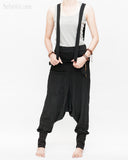 suspenders harem pants with side zippers heavy stretch jersey cotton blend hipster unisex low crotch trousers black pull