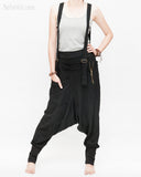 suspenders harem pants with side zippers heavy stretch jersey cotton blend hipster unisex low crotch trousers black relax