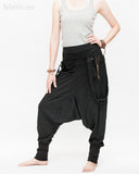 suspenders harem pants with side zippers heavy stretch jersey cotton blend hipster unisex low crotch trousers black side