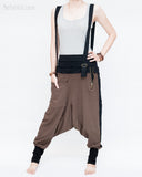 suspenders low crotch baggy harem pants heavy stretch jersey cotton hiphop punk street urban style cuff leg chocolate coffee brown front