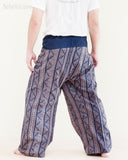 thai fisherman pants full length high quality cotton handmade wrap around fold over loose fit flexible yoga trousers inca triangle tribal stripe blue back